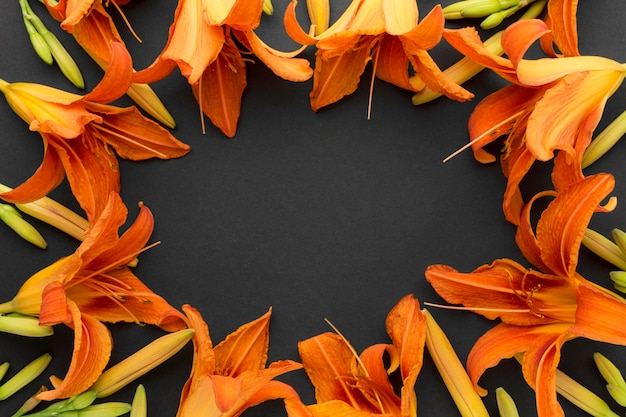 Flat lay orange lilies frame