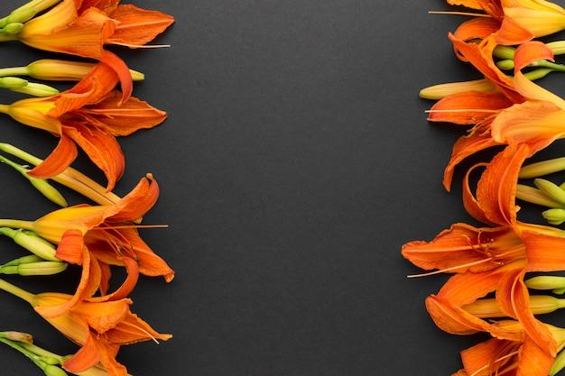 Flat lay orange lilies