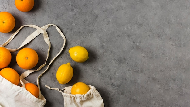 Flat lay oranges for healthy and relaxed mind