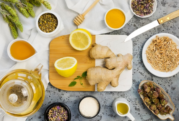 Flat lay of organic medicinal spices and herbs