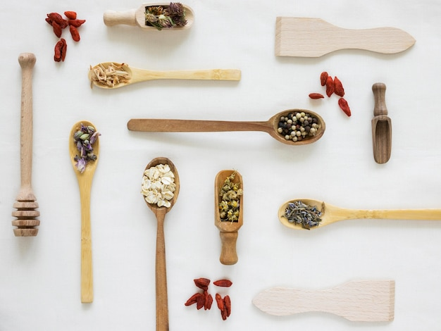 Flat lay of organic medicines in spoons
