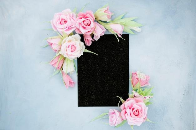 Flat lay ornamental floral frame