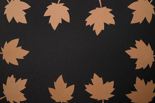 Flat lay paper autumn leaves arrangement with copy space