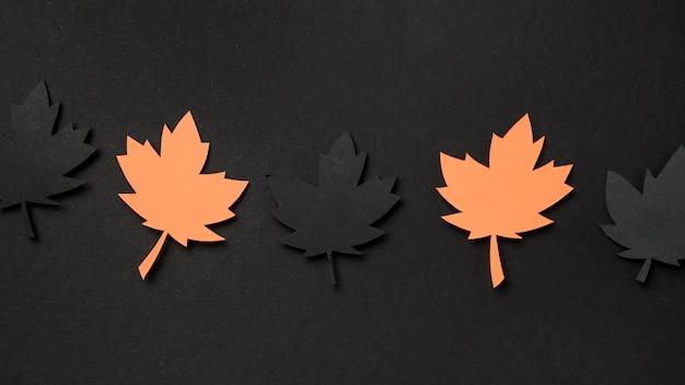 Flat lay paper autumn leaves assortment