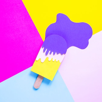 Flat lay paper ice cream decoration