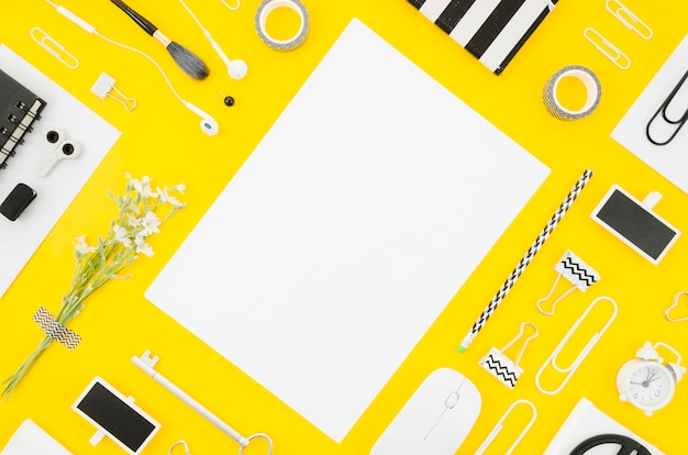Flat lay paper mockup with office supplies