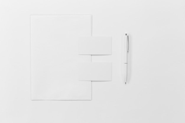 Flat lay paper pieces and pen