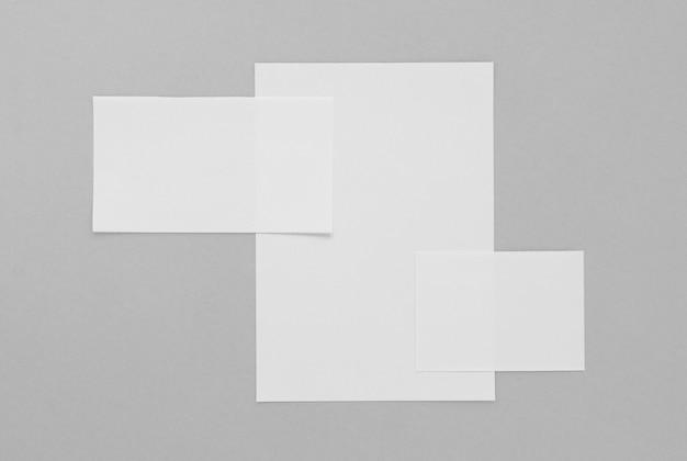 Flat lay paper sheets arrangement