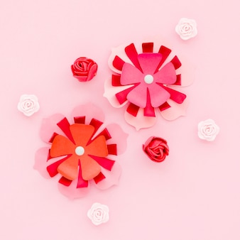 Flat lay of paper spring flowers