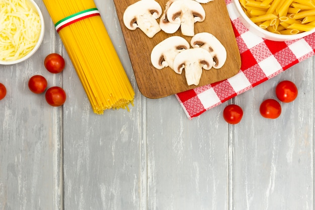 Flat lay of pasta and mushrooms