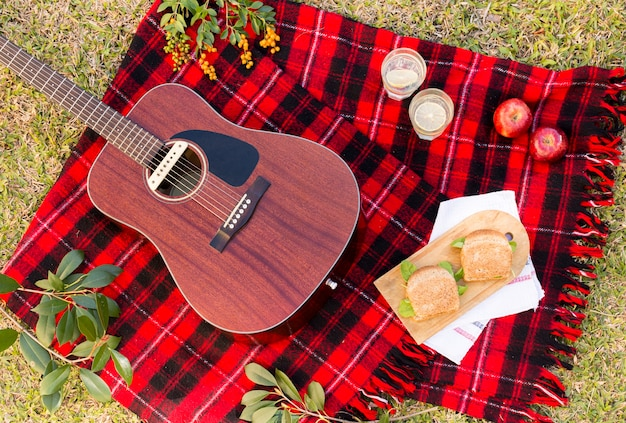 Flat lay picnic with acoustic guitar