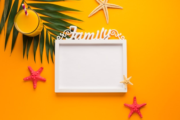 Flat lay picture frame with summer concept
