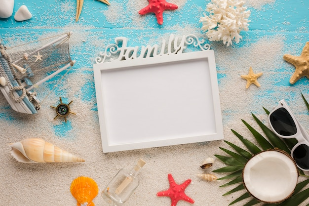 Flat lay picture frame with summer vacation concept