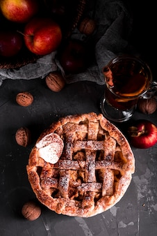 Flat lay of pie with tea