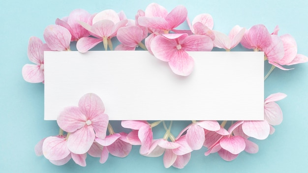 Flat lay pink hydrangea flowers with blank rectangle