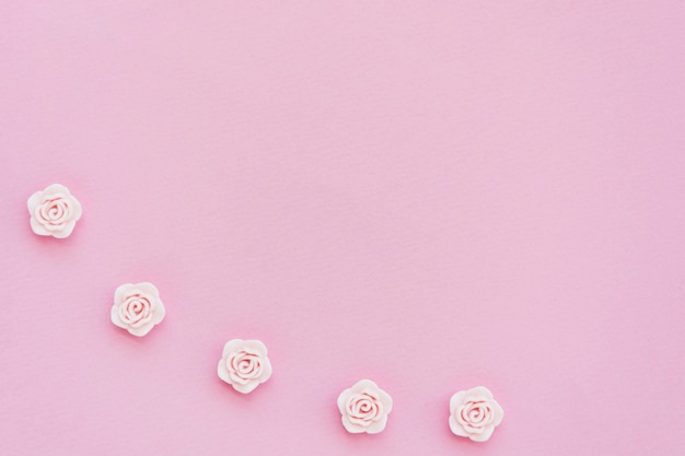 Flat lay of pink spring roses with copy space