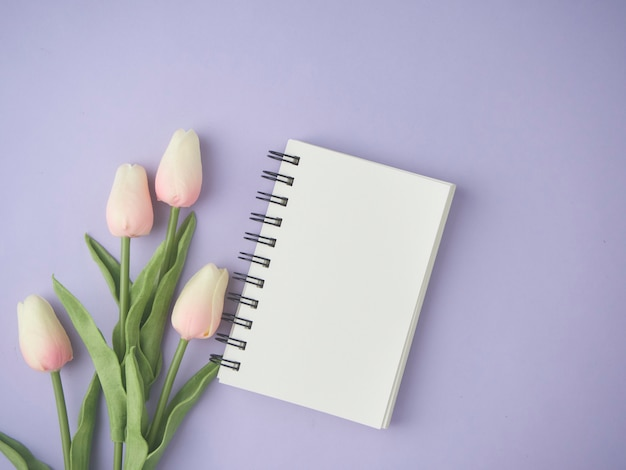 Flat lay of pink tulips flowers on purple background with blank notebook.