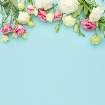 Flat lay pink and white mini roses with copy-space