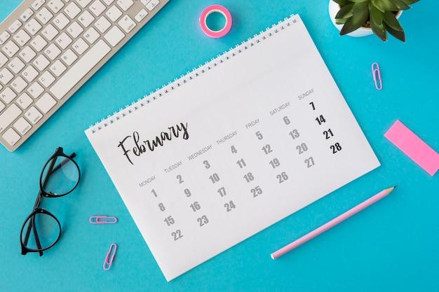 Flat lay planner february calendar