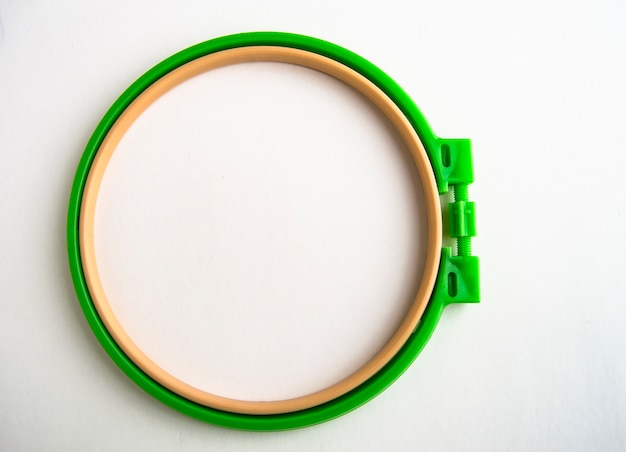 Flat lay plastic embroidery hoop isolated