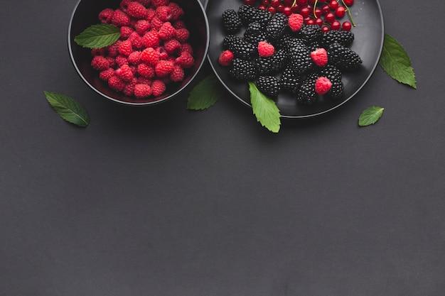 Плоская тарелка и миска свежих ягод с copyspace