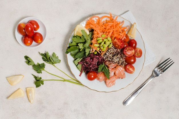 Flat lay of plate of healthy food