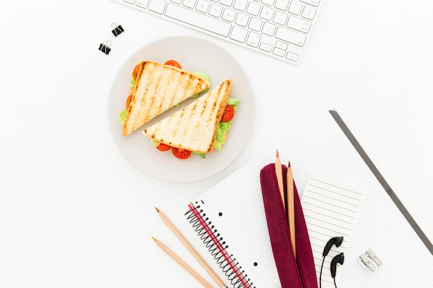 Flat lay plate with toast for office breakfast