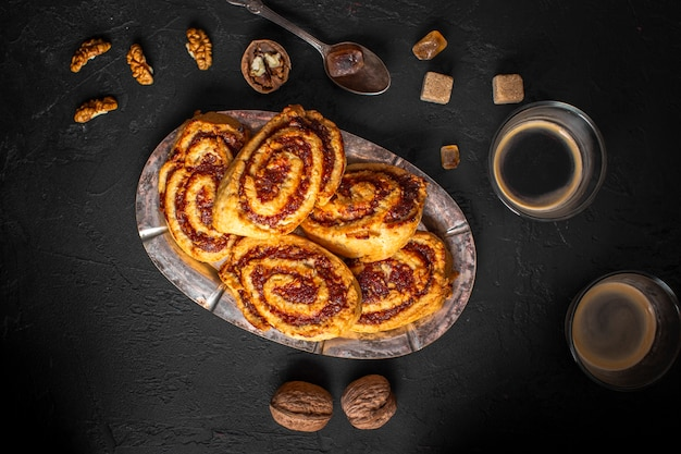 Flat lay platter with sticky buns