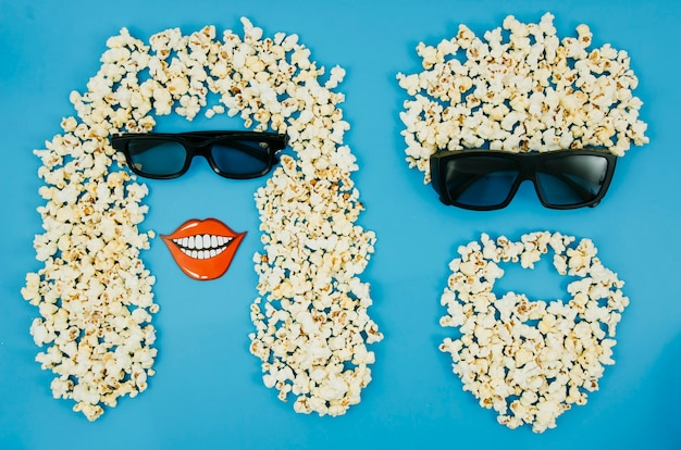 Flat lay of popcorn and 3d glasses for cinema concept