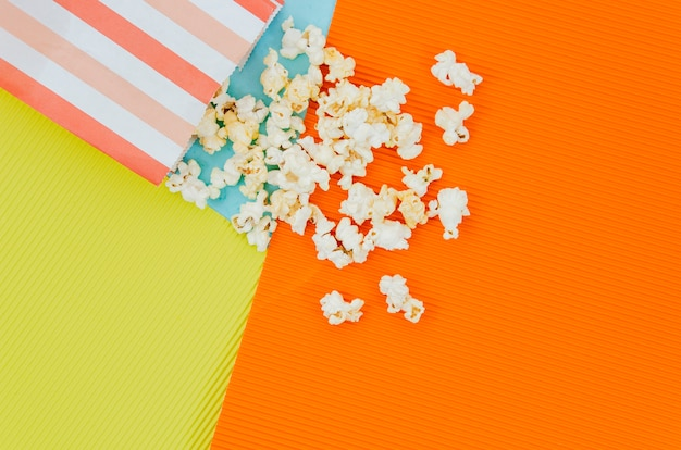 Flat lay of popcorn for cinema concept
