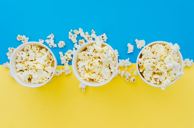 Flat lay popcorn composition for cinema concept