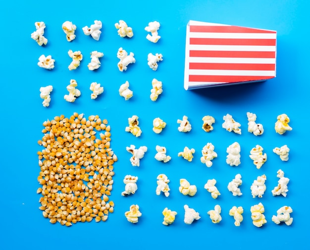 Flat lay of popcorn and kernels