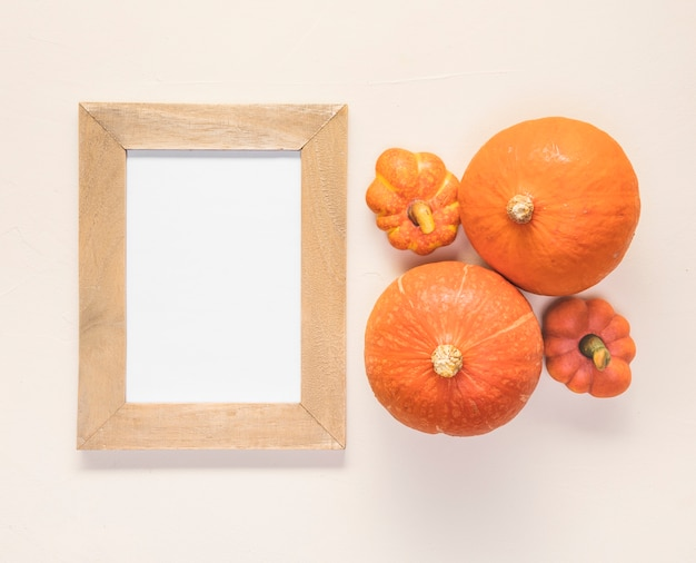 Flat lay pumpkin arrangement with frame