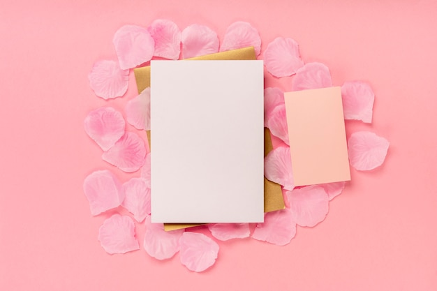 Flat lay quinceañera composition on pink background
