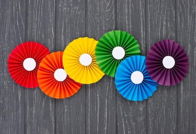 Flat lay rainbow paper origami