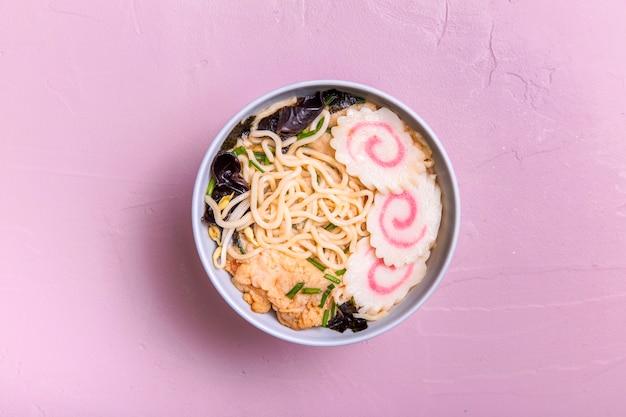 Flat lay ramen soup in bowl