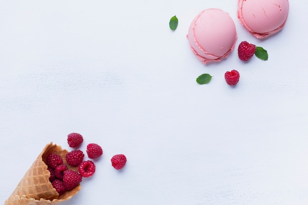 Flat lay of raspberry flavored ice cream