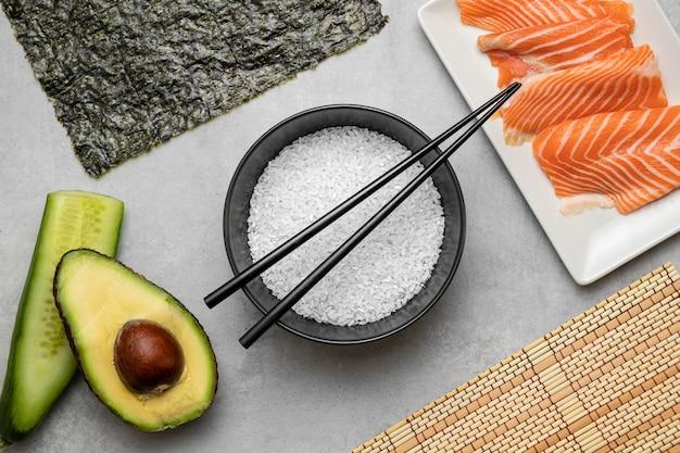 Flat lay raw salmon and avocado