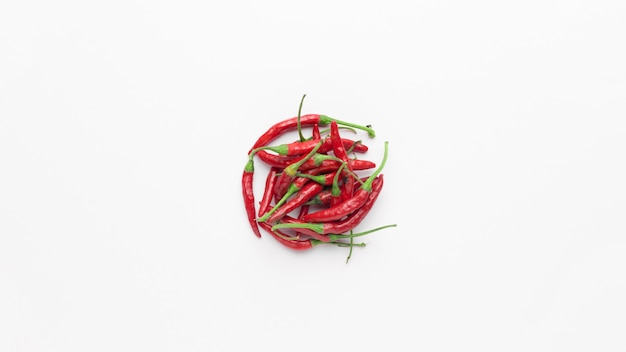 Flat lay of red chili peppers