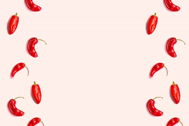 Flat lay red hot chillii peppers pattern