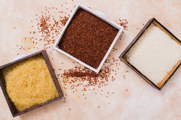 Flat lay rice composition