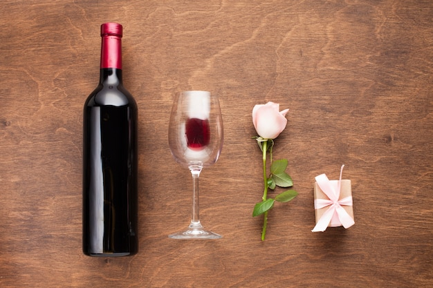 Flat lay romantic arrangement with wine