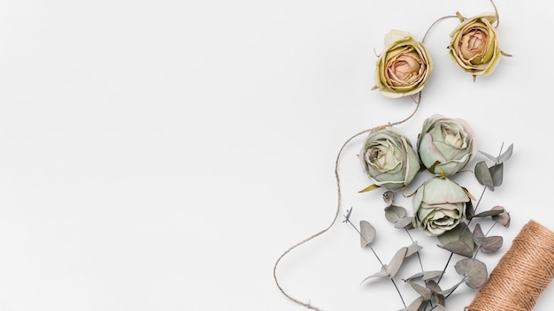 Flat lay roses with copy-space