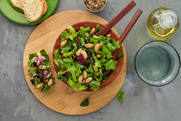 Flat lay salad with white beans