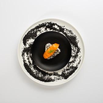Flat lay salmon nigiri on rice