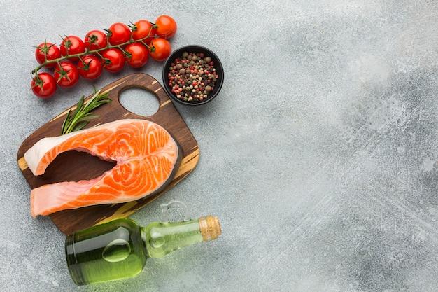 Flat lay salmon on wooden board