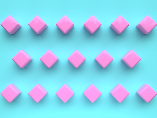 Flat lay scene group of blue pink geometric shape pattern set minimal abstract 3d rendering