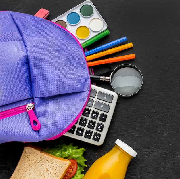Flat lay of school essentials with backpack and calculator