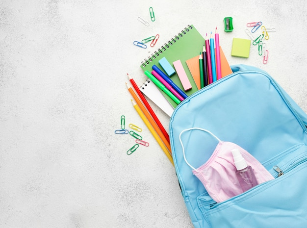 Flat lay of school essentials with backpack