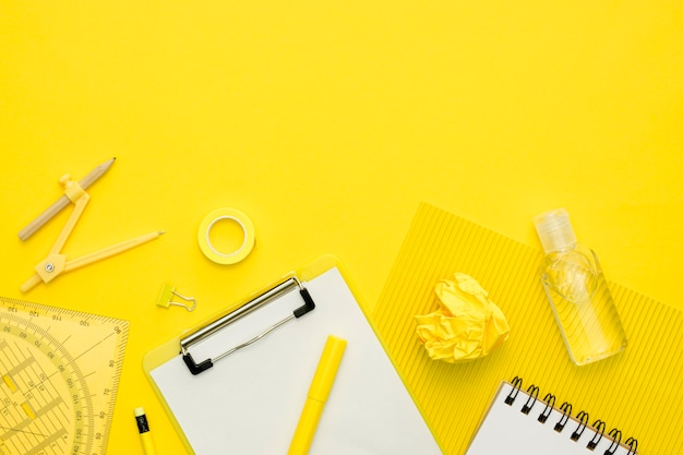 Flat lay school items with copy-space